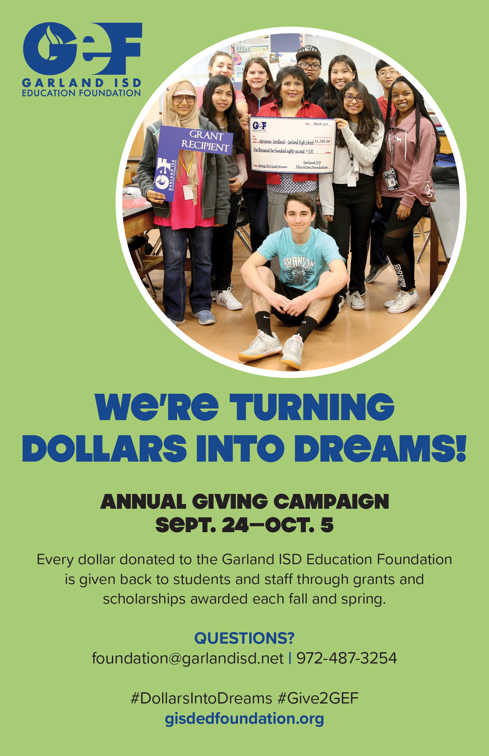 We're turning dollars into dreams. The annual giving campaign runs from September 24 - October 2.
