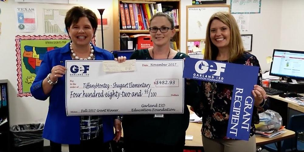 GEF president Lisa Cox surprises Garland teacher with grant funds