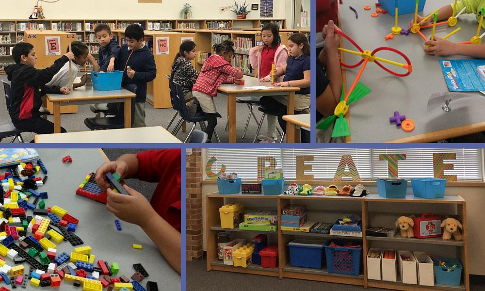 Collage of photos showing students interacting with various makerspace stations